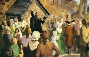The Rev. John Wesley preaches to Cornish miners at Trewint in southwest England. Illustrations courtesy of the General Commission on Archives and History.