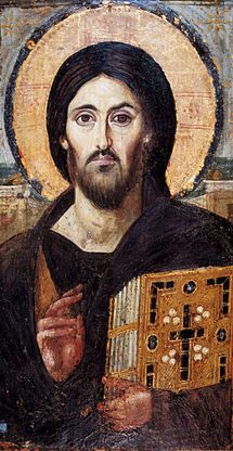 The oldest surviving panel icon of Christ Pantocrator, encaustic on panel, c 6th century.