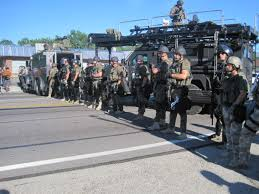 Police Standing Watch in Ferguson MO