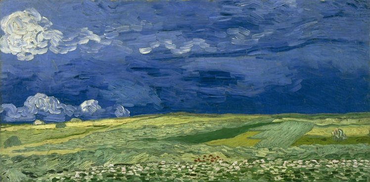 Van Gogh wheat field under a forboding sky