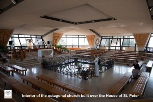 Interior of Modern Church built over the site thought to be the home of Peter the Apostle