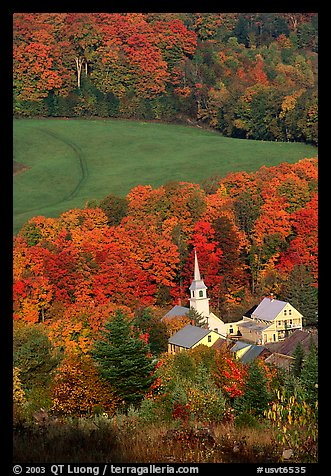 Church of East Corinth among trees in fall color. Vermont, New England, USA