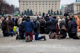 People Praying in the Ukraine
