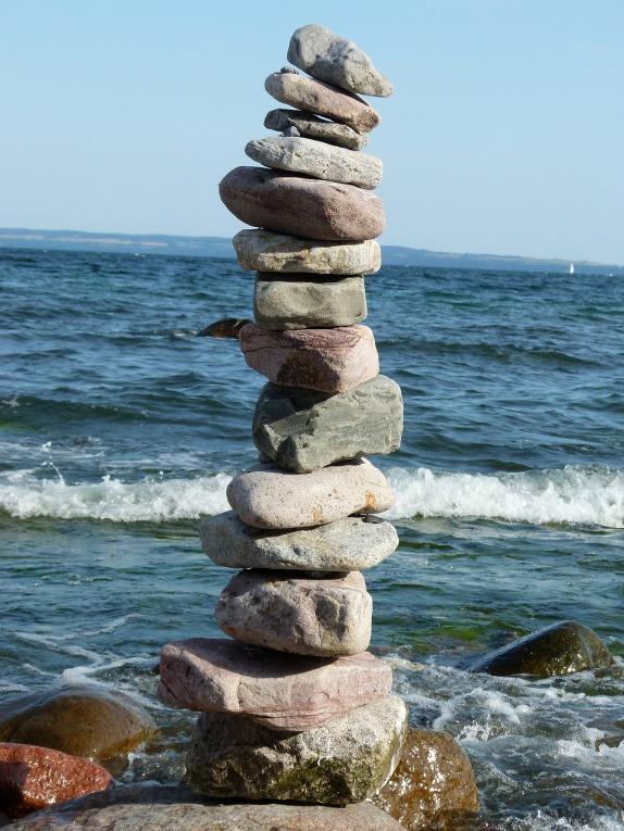 Beach stacked stones 1